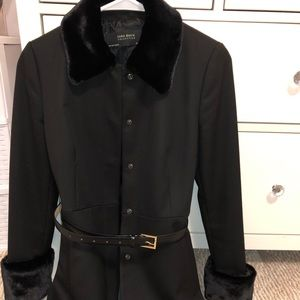 Zara jacket with belt and faux fur